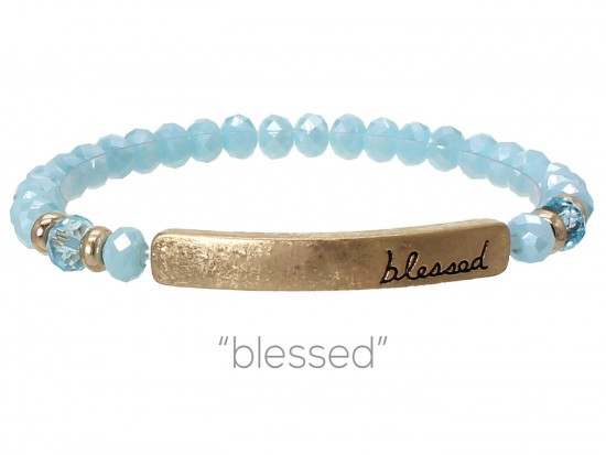 Blue Opal Crystal Blessed Gold Bar Stretch Bracelet
