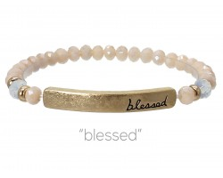 Light Peach Crystal Blessed Gold Bar Stretch Bracelet