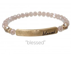Rose Pink Crystal Blessed Gold Bar Stretch Bracelet