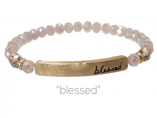 Rose Pink Crystal Blessed Gold Bar Stretch Bracelet