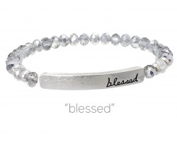 Silver Crystal Blessed Silver Bar Stretch Bracelet