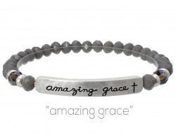 Gray Crystal Amazing Grace Silver Bar Stretch Bracelet
