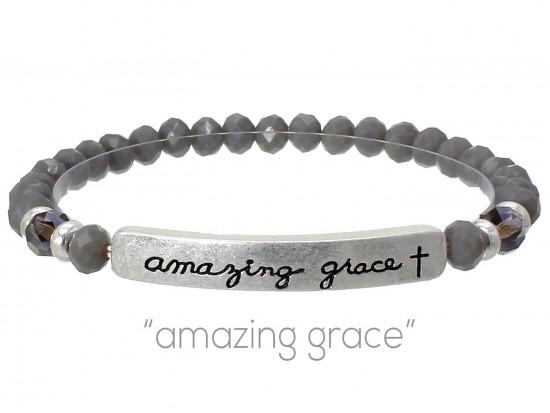 Gray Crystal Amazing Grace Silver Bar Stretch Bracelet