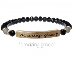 Black Crystal Amazing Grace Gold Bar Stretch Bracelet
