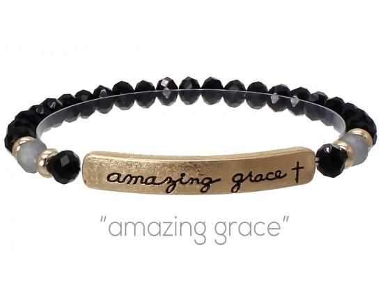 Black Crystal Amazing Grace Gold Bar Stretch Bracelet