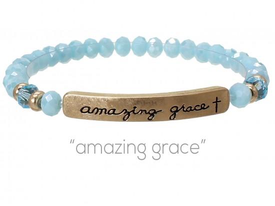 Blue Opal Crystal Amazing Grace Silver Bar Stretch Bracelet