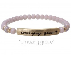Light Purple Crystal Amazing Grace Gold Bar Stretch Bracelet