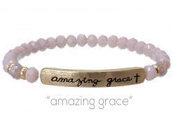 Light Purple Crystal Amazing Grace Gold Bar Stretch Bracelet