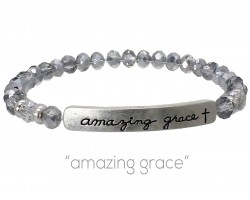 Silver Crystal Amazing Grace Silver Bar Stretch Bracelet
