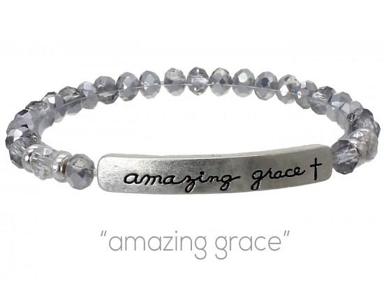 Silver Crystal Amazing Grace Silver Bar Stretch Bracelet