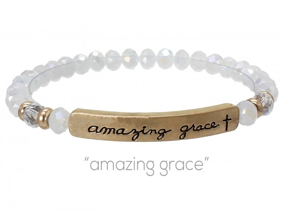 White Opal Crystal Amazing Grace Silver Bar Stretch Bracelet