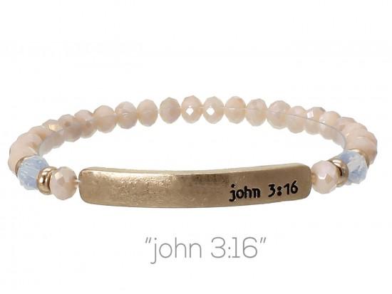 Light Peach Opal Crystal John 3:16 Gold Bar Stretch Bracelet