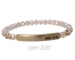 Pink Crystal John 3:16 Gold Bar Stretch Bracelet