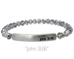 Silver Opal Crystal John 3:16 Silver Bar Stretch Bracelet