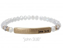White Opal Crystal John 3:16 Gold Bar Stretch Bracelet