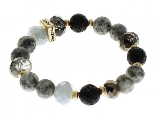 Black Love Faith Blessed Hope Natural Stone Stretch Bracelet