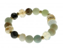 Green Love Faith Blessed Hope Natural Stone Stretch Bracelet