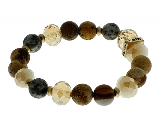 Brown Love Faith Blessed Hope Natural Stone Stretch Bracelet
