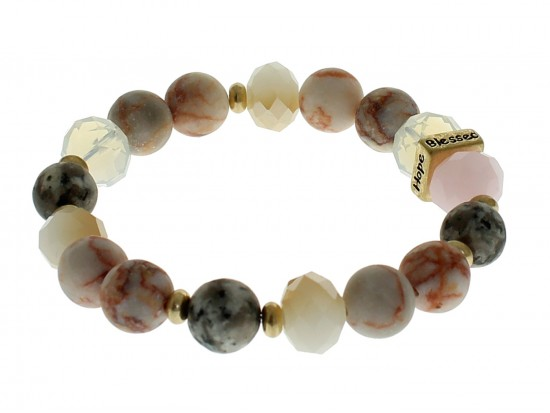 Peach Love Faith Blessed Hope Natural Stone Stretch Bracelet