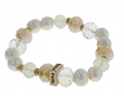 Pearl Love Faith Blessed Hope Stretch Bracelet