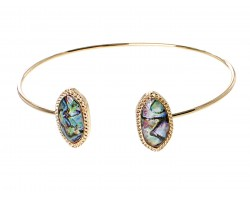 Abalone Oval Gold Edge Cuff Bracelet