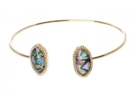 Abalone Oval Gold Edge Cuff Bracelet