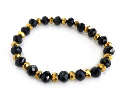 Black Gold Crystal Rondell Stretch Bracelet