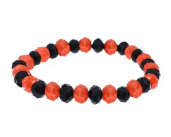 Black Orange Crystal Rondell Stretch Bracelet