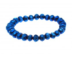 Blue Metalic Crystal Rondell Stretch Bracelet