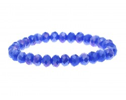 Blue Crystal Rondell Stretch Bracelet