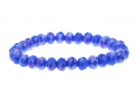 Blue Crystal Rondell Stretch Bracelet