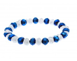 Blue White Crystal Rondell Stretch Bracelet