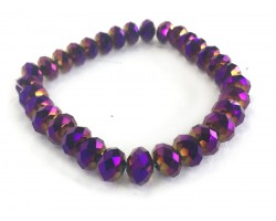 Dark Purple Crystal Rondell Mix Stretch Bracelet
