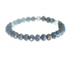 Gray Crystal Rondell Stretch Bracelet
