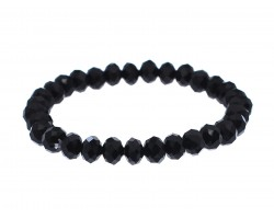 Black Crystal Rondell Stretch Bracelet