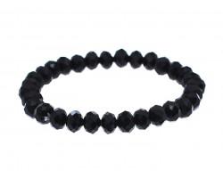 Black Crystal Rondell Stretch Bracelet