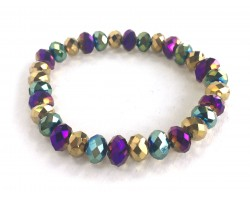 Mardi Gras Metalic Crystal Rondell Mix Stretch Bracelet