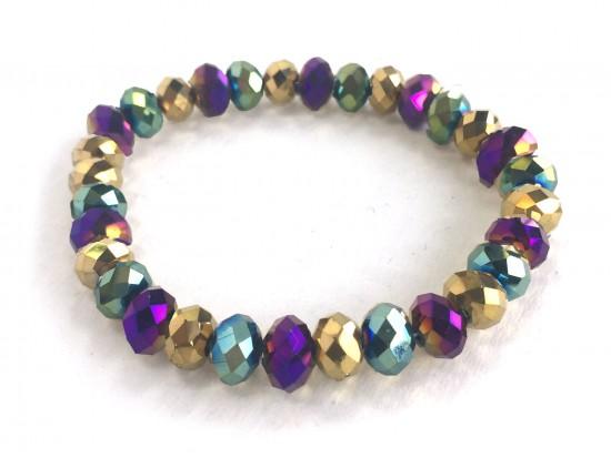 Mardi Gras Metalic Crystal Rondell Mix Stretch Bracelet