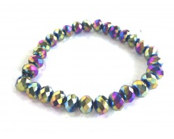 Multi Metalic Crystal Rondell Stretch Bracelet