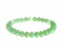 Mint Green Crystal Rondell Stretch Bracelet