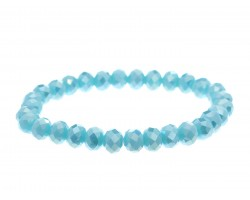 Blue Opal Crystal Rondell Stretch Bracelet