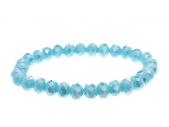 Blue Opal Crystal Rondell Stretch Bracelet