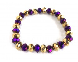 Purple Gold Crystal Rondell Stretch Bracelet