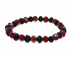 Red Black Crystal Rondell Stretch Bracelet