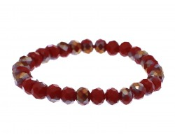 Red Crystal Rondell Stretch Bracelet