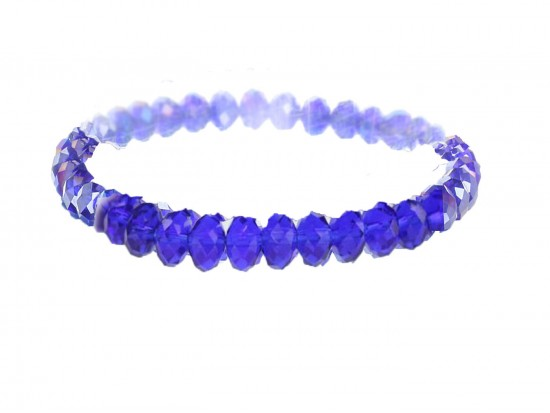 Blue Sapphire Crystal Rondell Stretch Bracelet