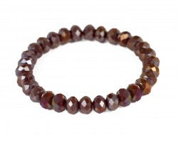 Dark Brown Crystal Rondell Stretch Bracelet