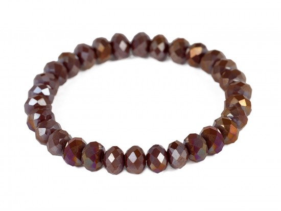 Dark Brown Crystal Rondell Stretch Bracelet