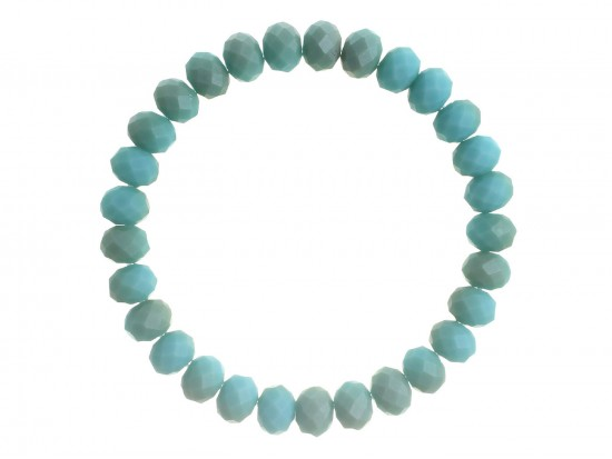 Turquoise Matte Crystal Rondell Stretch Bracelet