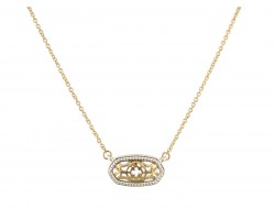 Gold Filigree Oval Necklace